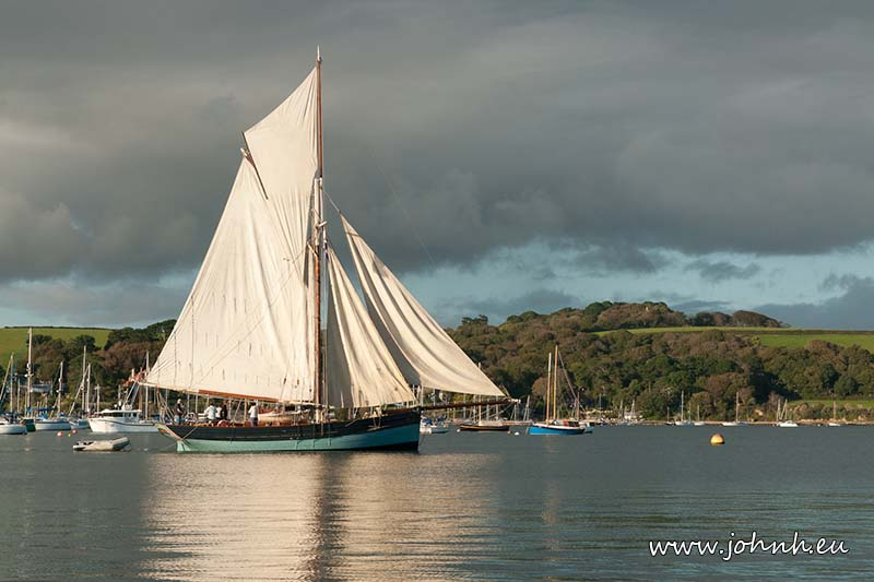 A yacht in Carrick Roads, Falmouth Bay, Cornwall