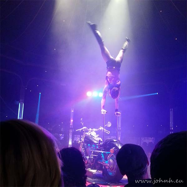 Hand balancing acrobatics at La Soiree in the Spiegeltent on London's South Bank