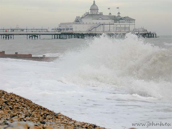December surf on the beach at Eastbourne