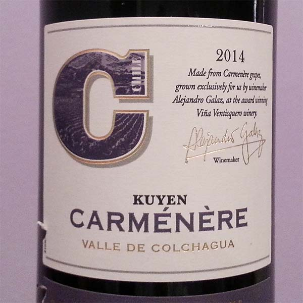 2014 Kuyen Carménère from Colquoa Valley, Chile