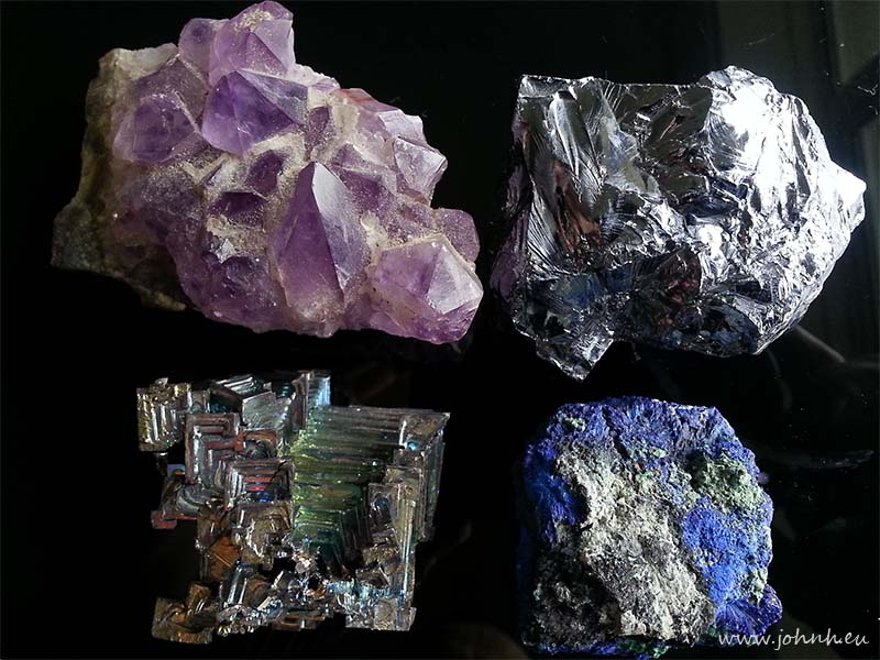 Amethyst Silicon Azurite Bismuth samples from Peter's collection