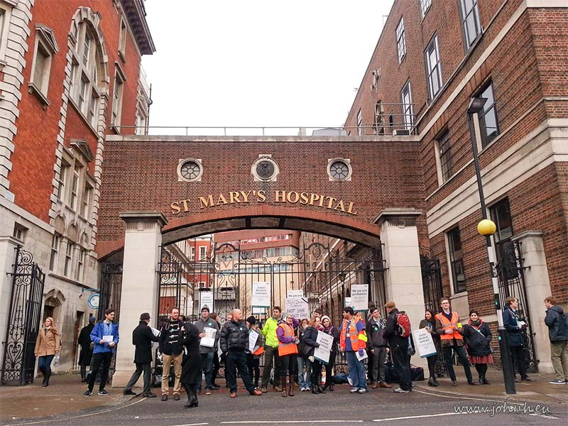 BMA junior doctors on picket line outside St Marys hospital, Paddington, London