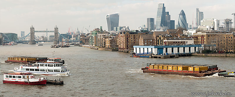 Tower Bridge and the City of London viewed from Rotherhithe