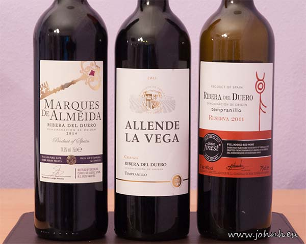 Three bottles of Tempranillo wine from Ribera del Duero, Spain