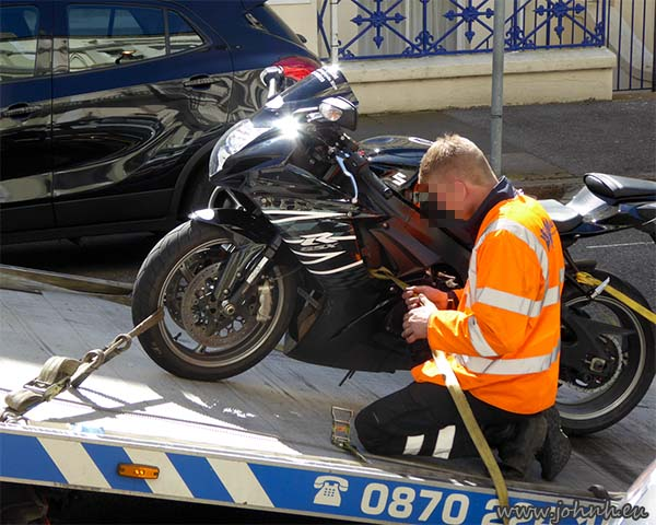 Hire GSXR on recovery truck in Eastbourne