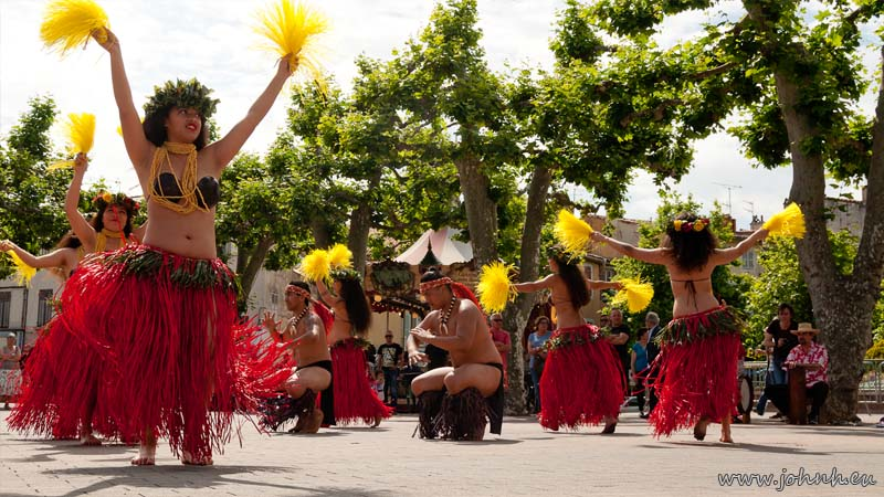 Polynesian dancers from the group Hei Show Tamure perform in Aubagne, Provence