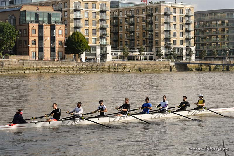 Rowing eight on the Thames at Hammersmith