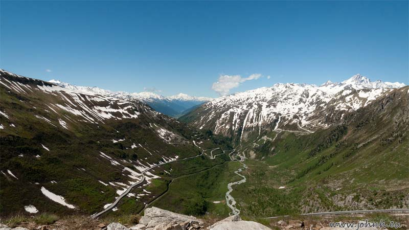 View of the Grimsel pass road from the Furka col