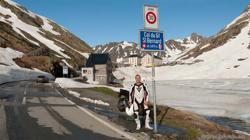 Arrived at the col of the Grand St Bernard pass