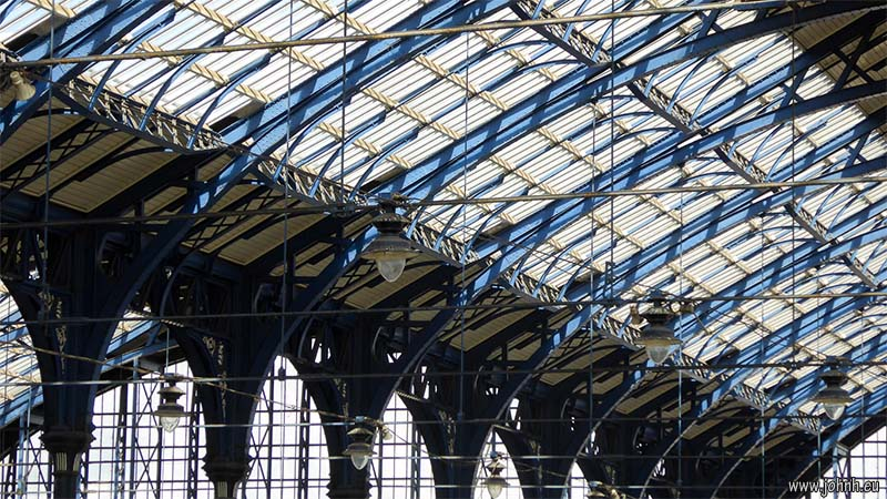 Elegant and functional ironwork of the roof of Brighton railway station