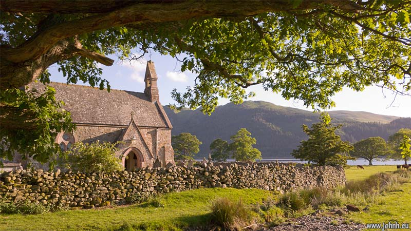 St Bega's church on the banks of Bassenthwaite Lake, Cumbria