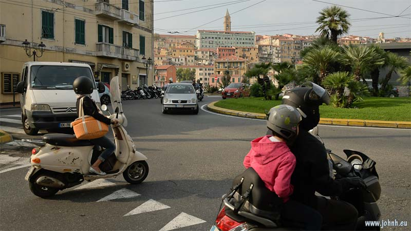 Scooters on a Ventimiglia roundabout