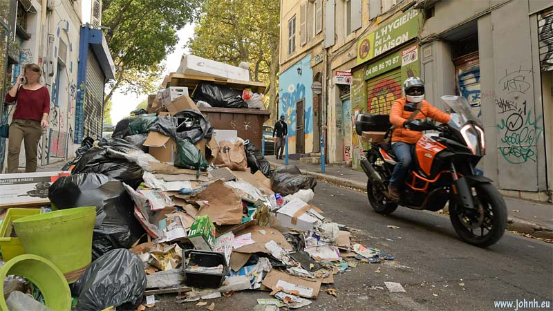 Rubbish on the streets of Marseille