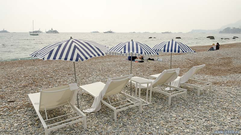 Deckchairs on the Plage de Cabbé