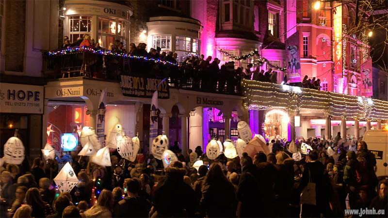Parade passing the Theatre Royal, Burning the Clocks 2017