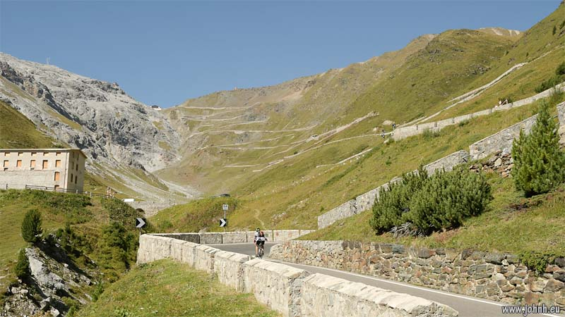 Looking up the Stelvio Pass