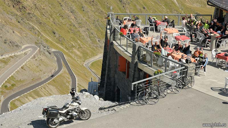 Tour 7 bikers enjoying lunch at Stelvio Pass