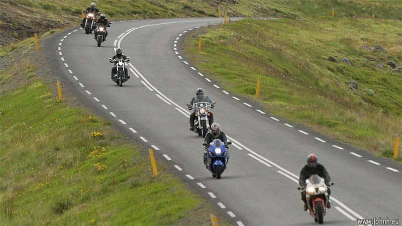 Bikers on the road to Ísafjörður