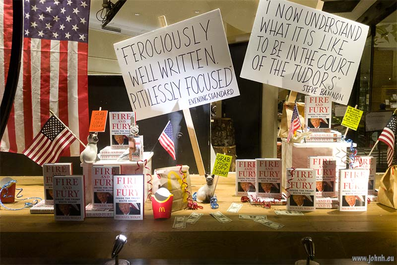 Fire and Fury, the book: Window display in Piccadilly by Waterstones