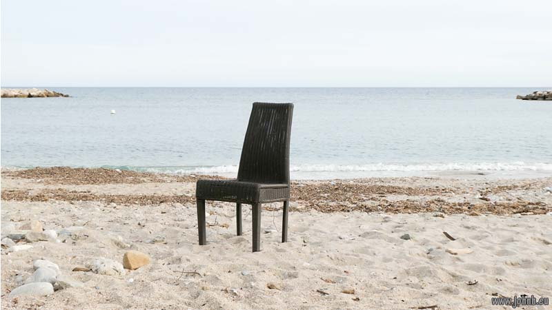 Chair on Beach at Menton