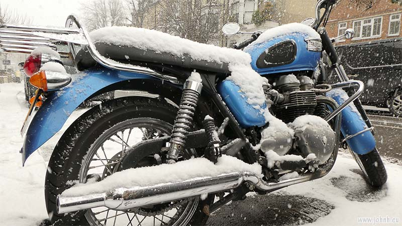 Triumph Bonneville in the blizzard