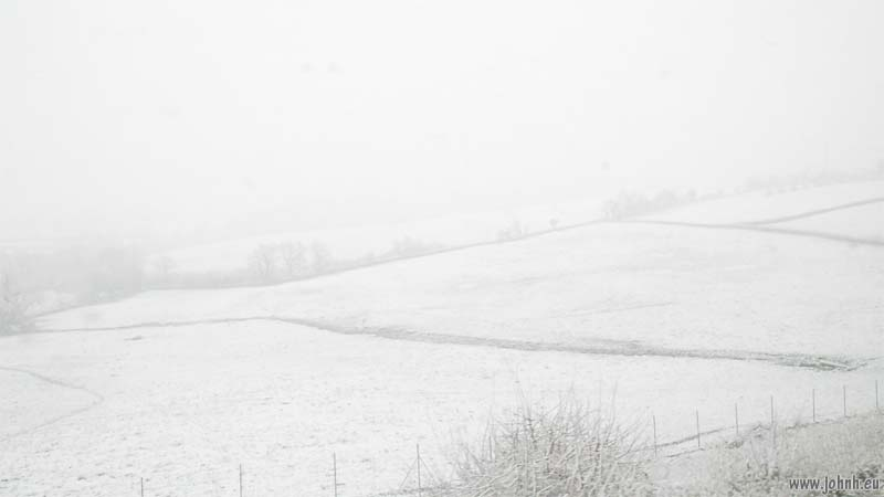 Farmland near Le Creusot under snow