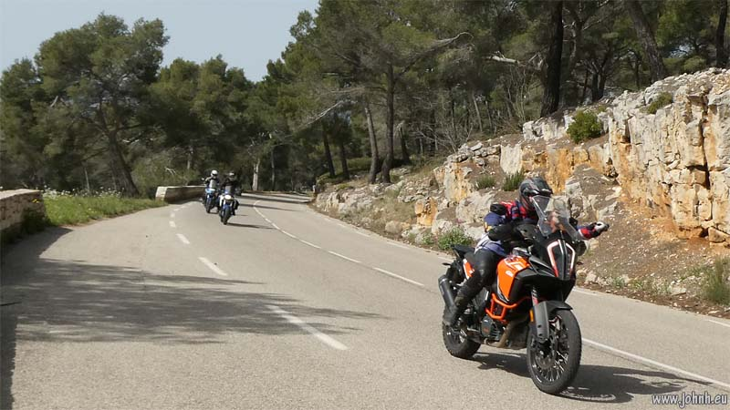 AMA riders on the road near Le Castellet
