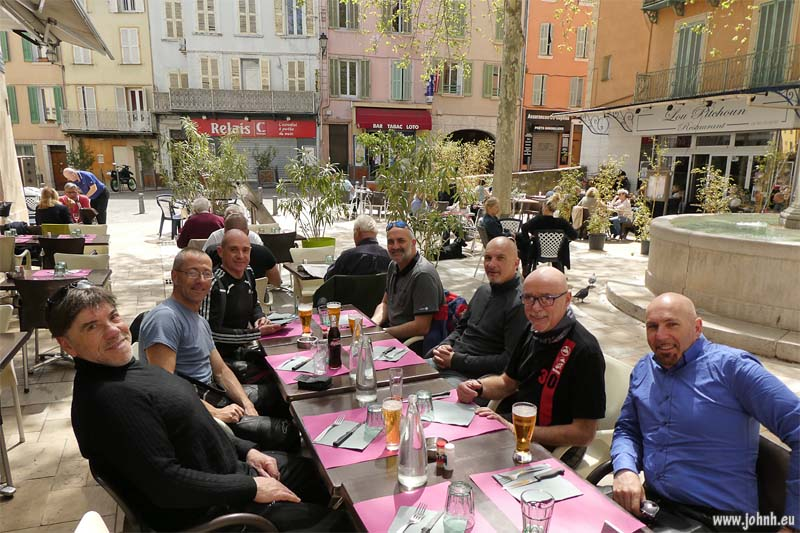 Lunch in the square at Solliès-Pont