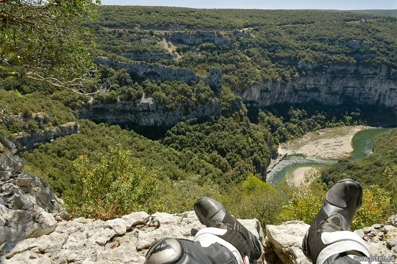 Boots over the Ardèche gorge