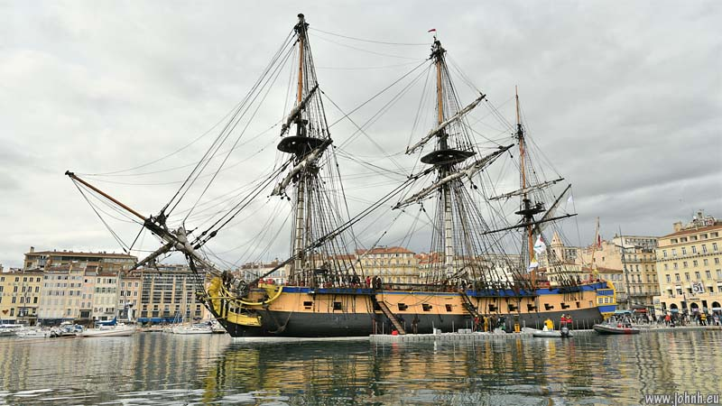 The frigate Hermione in the Vieux Port, Marseille