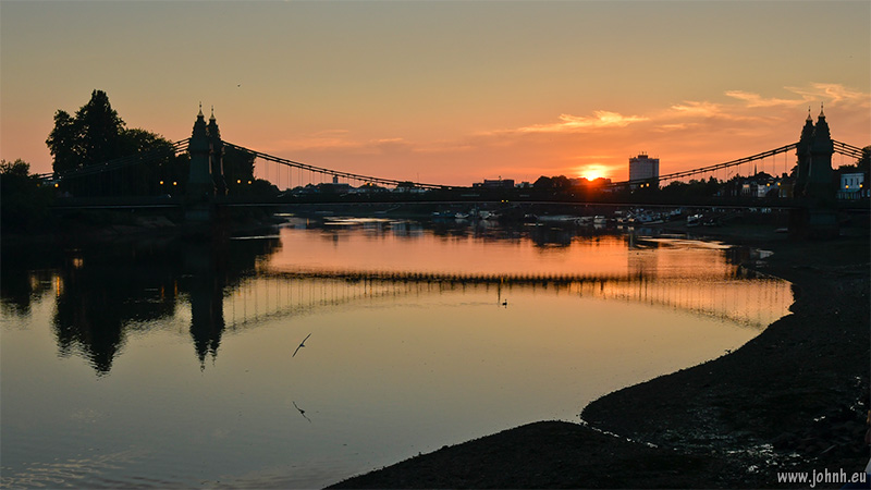 Sunset on the River Thames at Hammersmith Bridge
