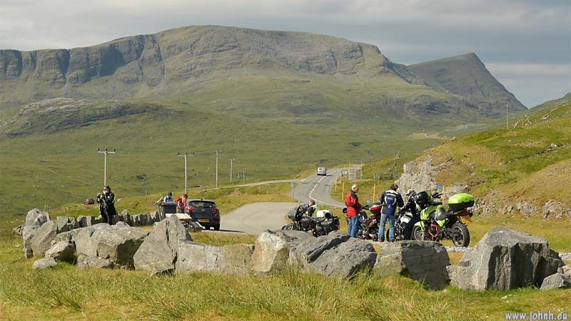Bikers at the pass above Loch Seaforth, North Harris, Outer Hebrides