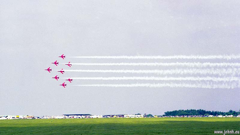 Red Arrows display at the 1979 Silverstone British Grand Prix