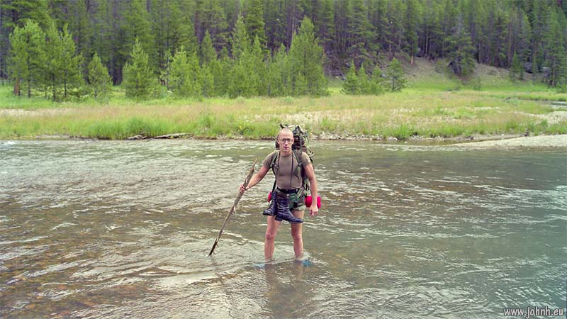 Wading the Green River in Wyoming