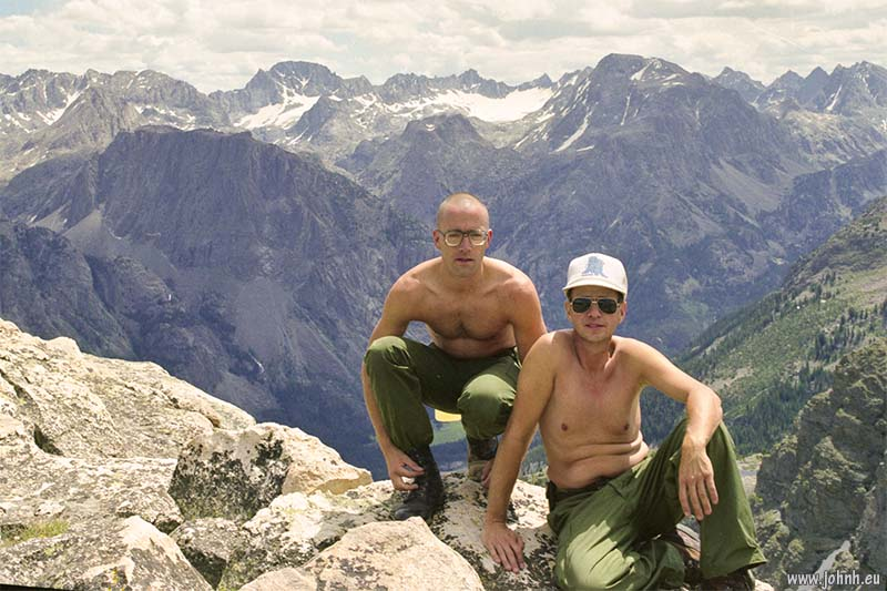 Arlen and John, summit of Square Top Mountain, Wyoming, July 1991