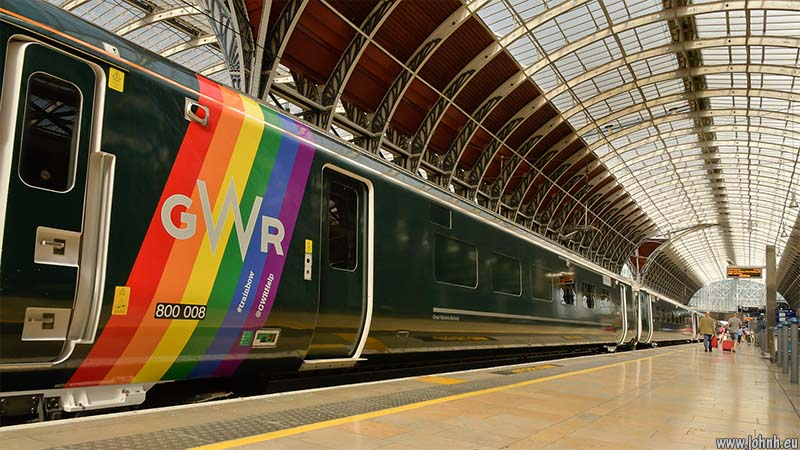 GWR mainline electric loco 800 008 in rainbow pride colours