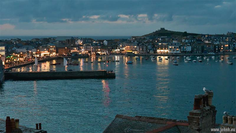 St. Ives harbour, Cornwall, at night