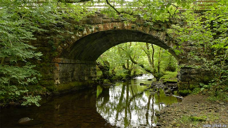 Stone railway bridge over the River Greta