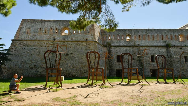 Chairs at the fort in Sam Remo