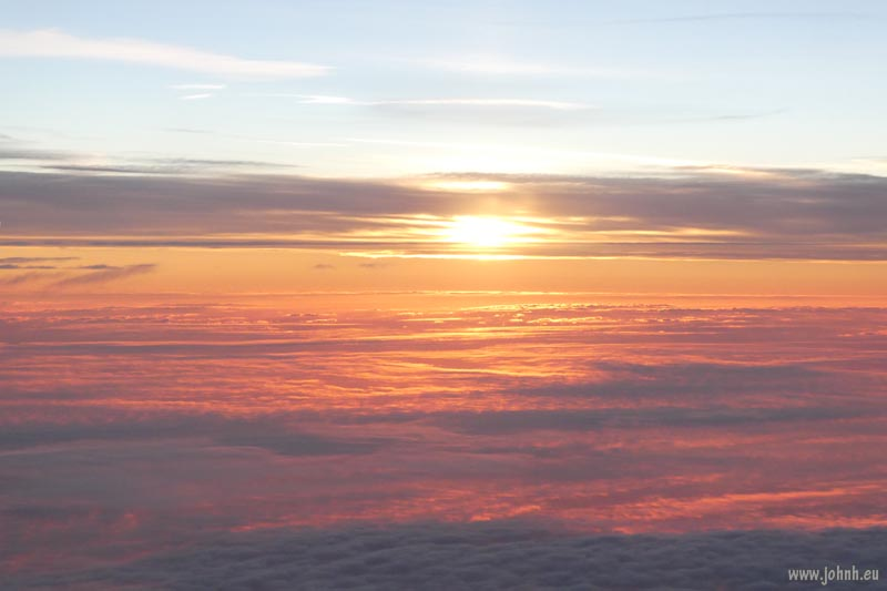 Stratosphere dawn over the English Channel