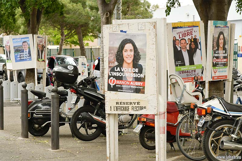 Posters in Marseille for candidates in the 2019 European Parliament elections