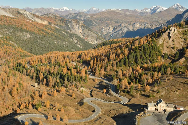 Autumn morning at the Réfuge Napoléon on the Col d'Izoard with fresh snow on the Alps
