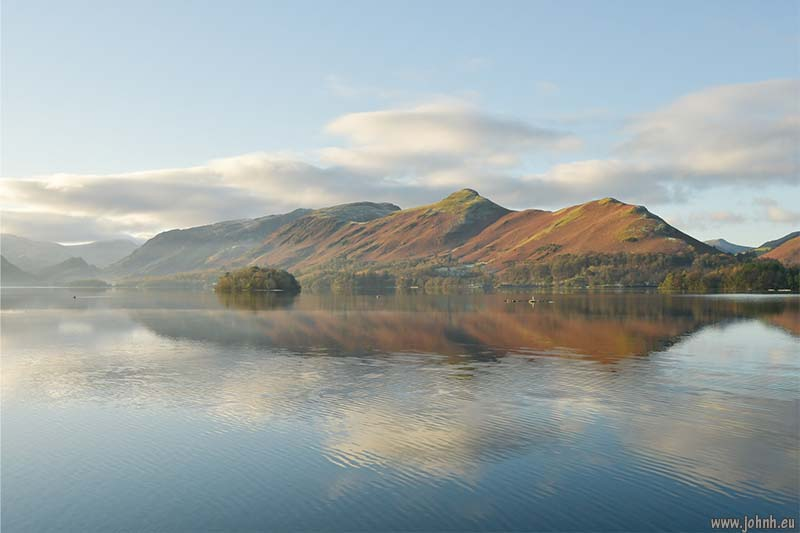 Derwent Water as the sun breaks the horizon on the last day of November