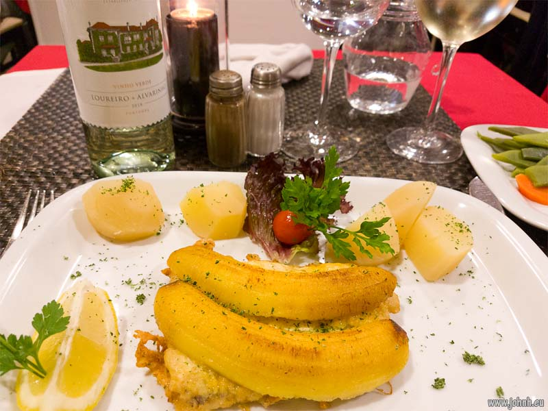 scabbard fish steak with banana - Madeira
