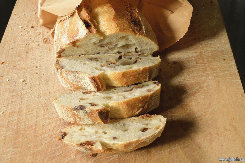 Artisan walnut and raisin sourdough bread