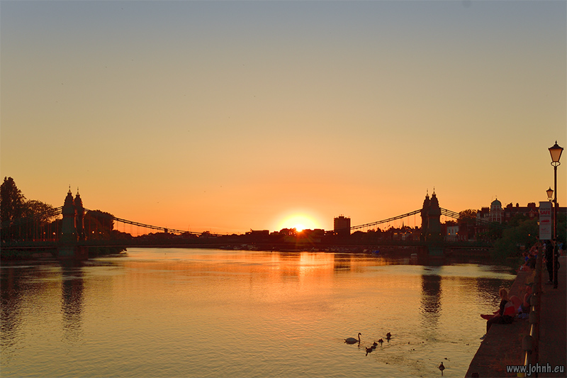 Sunset over the Thames at Hammersmith Bridge, London