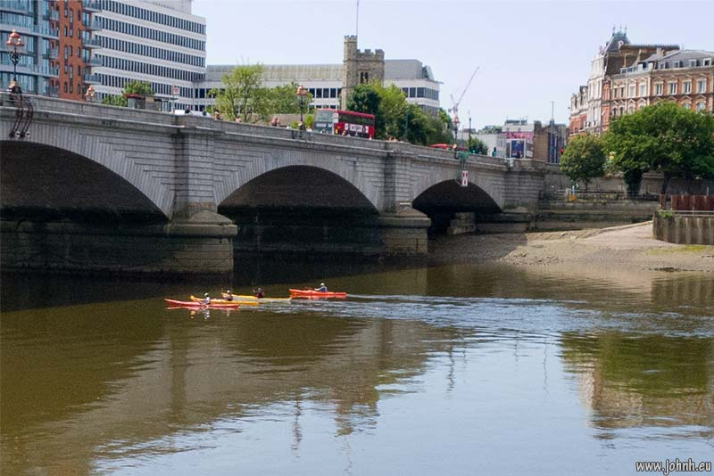 Canoes on the Thames at Putney Bridge