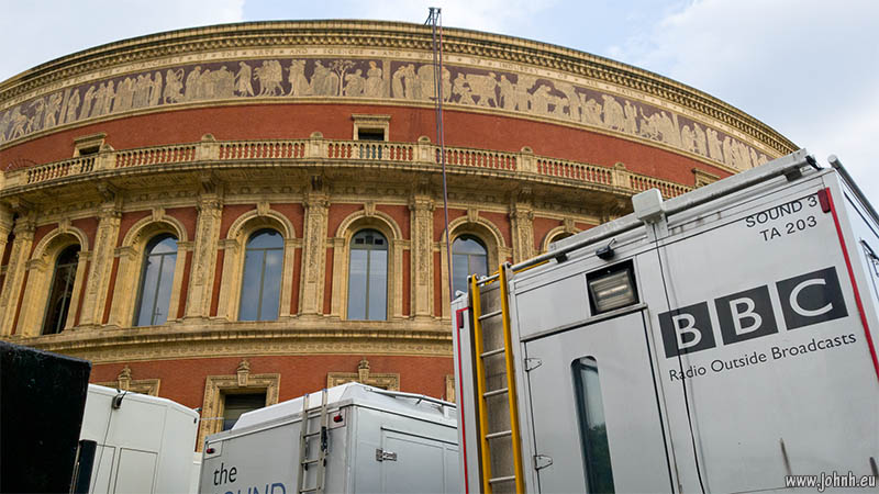 BBC Radio 3 sound OB trucks outside the Royal Albert Hall