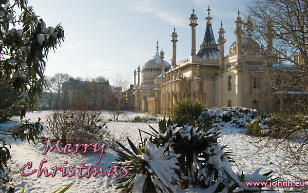 Snow on the lawn of the Royal Pavillion, Brighton England