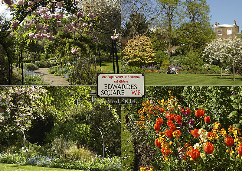 Photos of Edwardes Square garden in Kensington, London
